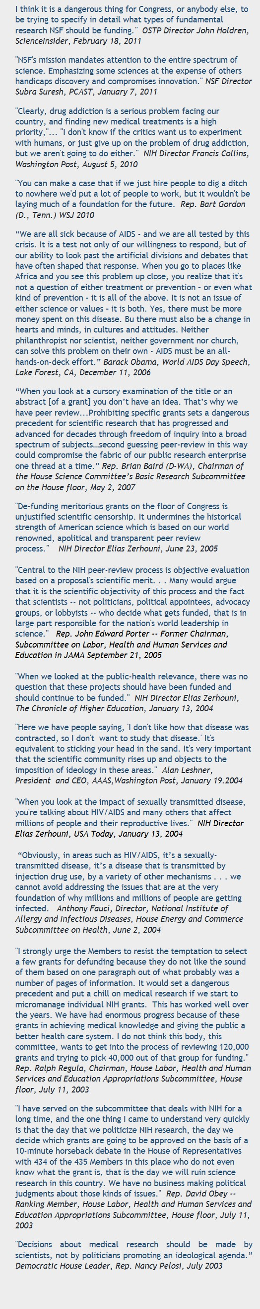 NIH Peer Review Quotes