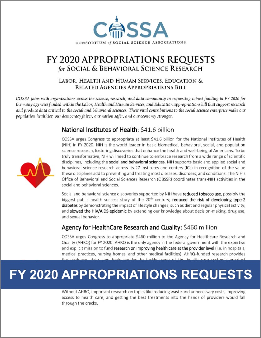 FY 2020 Appropriations Requests